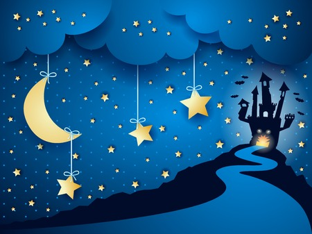 dreamy: Halloween background with castle and moon, vector eps10