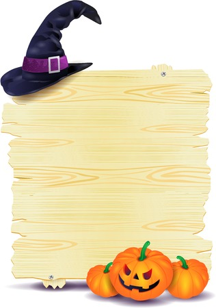 Halloween signboard with pumpkins and hat Vettoriali