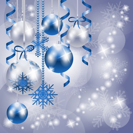 Christmas background in blue and silver with copy space, vector eps10 Vector