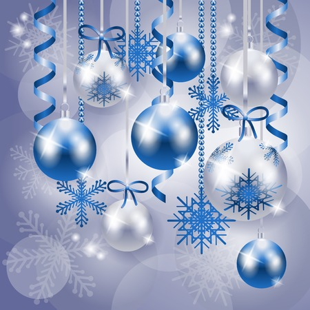 season greetings: Christmas background in blue and silver, vector eps10 Illustration