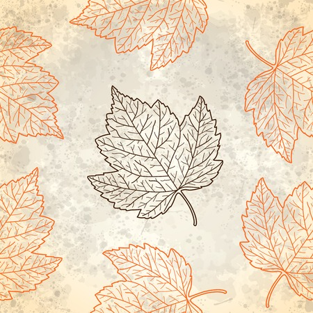Pattern with autumn leaves in beige, vector eps10