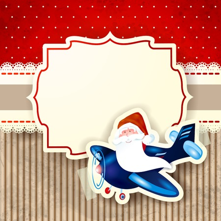 Santa Claus and the airplane over red background, vector eps10 Vector
