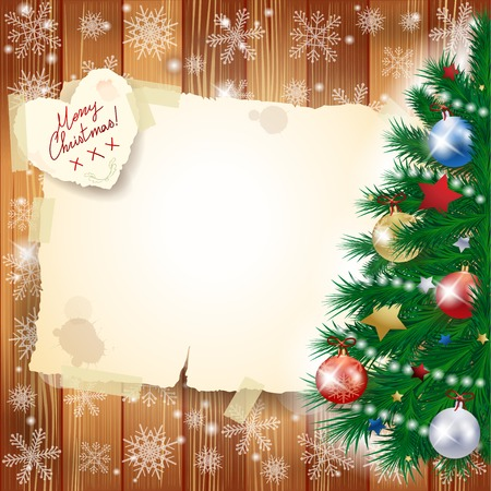 Christmas background with tree and copy space Vector