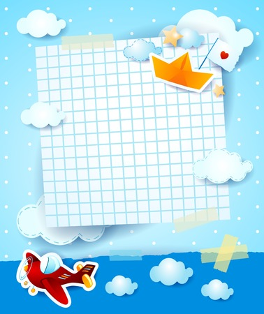 Baby shower invitation with airplane and paper boat