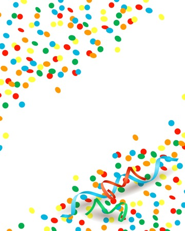 Confetti and streamers, background with copy space Illustration