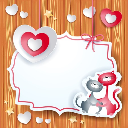 Valentine card with heart and lovely cats, vector eps10 Vector