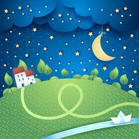 stars cartoon: Surreal landscape with river, vector eps10