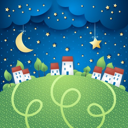 Surreal landscape with village, vector eps10 Stock Illustratie