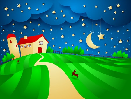 Night landscape with farm and starry sky, vector eps10 Vector