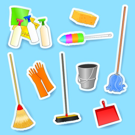 cleaning equipment: Cleaning equipment, set of vector icons. Eps10