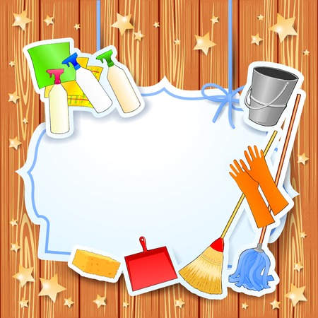 mujer limpiando: Limpieza, vector de fondo con copia espacio.