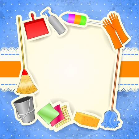 Cleaning, background with copy space. Vector