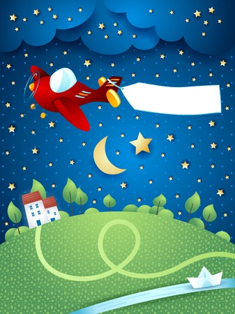 river vector: Night landscape with airplane, banner and river. Vector