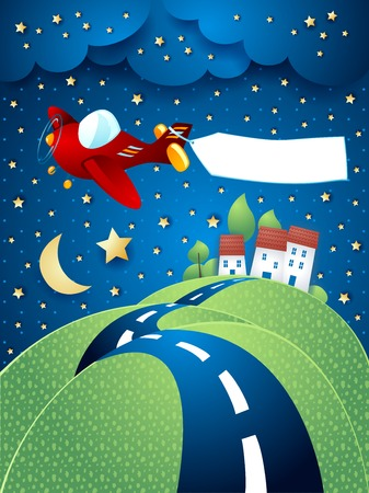 hilly: Night landscape with airplane, banner and hilly road. Vector