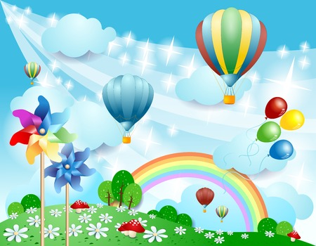 rainbow scene: Spring background with balloons and pinwheels, vector eps10