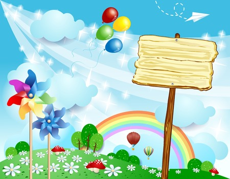 Spring landscape with wooden sign, vector