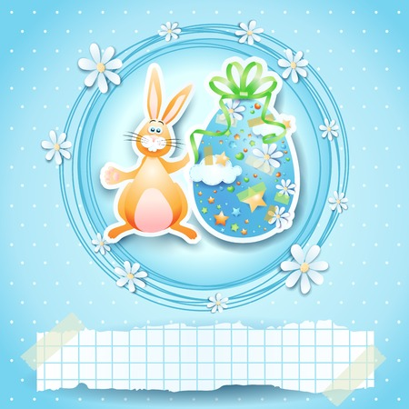 easter bunny: Easter card with egg, bunny and copy space.