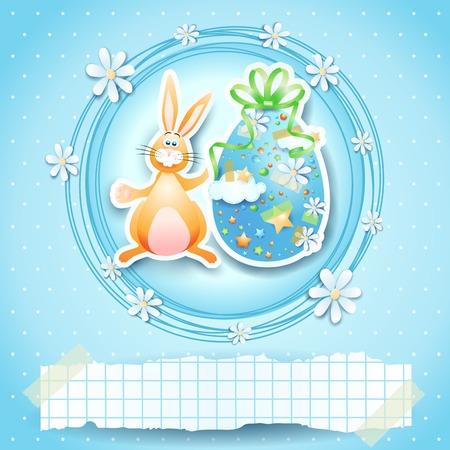 osterhase: Osterkarte mit Ei, Hase und Kopie Raum.