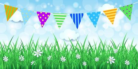 春の花飾りと背景, ベクトル eps10