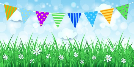 lawn party: Spring background with festoon, vector eps10 Illustration