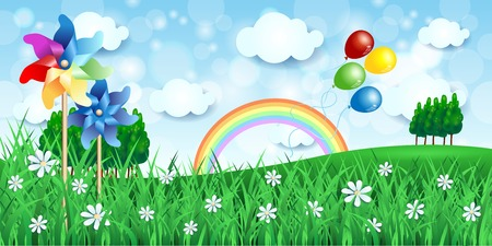 pinwheels: Spring background with pinwheels and balloons, vector
