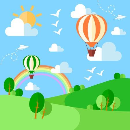 Landschap met hete lucht ballonnen illustratie in vlakke stijl. Vector eps10 Stock Illustratie