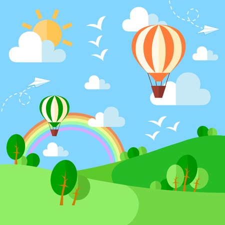 Landscape with hot air balloons illustration in flat style. Vector eps10 Illustration