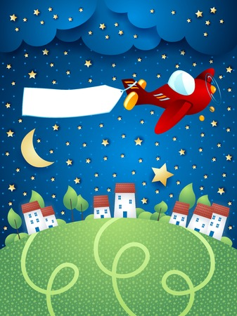 Night landscape with airplane banner and village vector illustration eps10