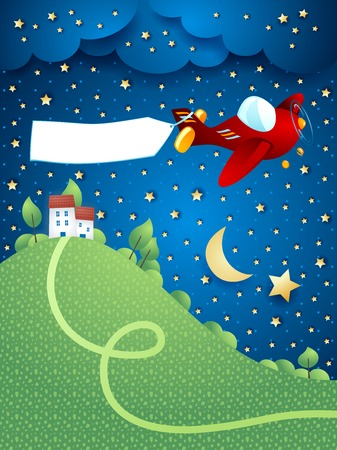 flying boat: Night landscape with airplane banner and hill vector illustration eps10