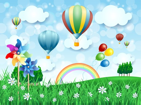 Spring landscape with hot air balloons, vector illustration eps10