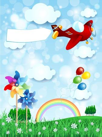 Lente landschap met vliegtuig en banner, verticale versie. Vector illustratie