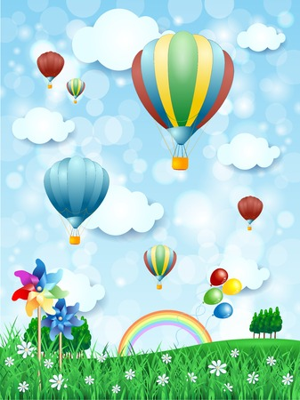 dirigible: Spring landscape with hot air balloons, vertical version. Vector illustration