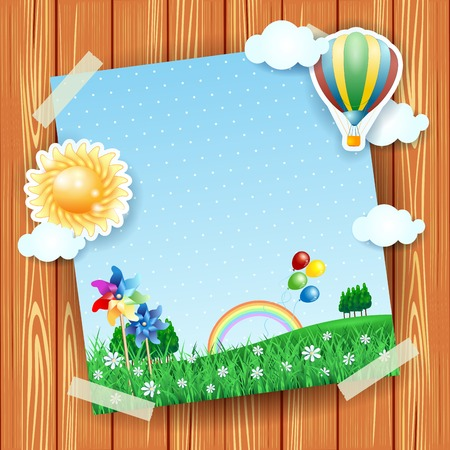collage: Spring background with copyspace, collage. Vector illustration