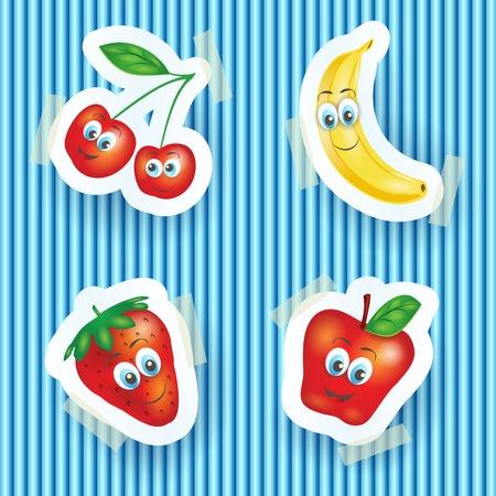 platano caricatura: Frutas felices con las caras sonrientes, ilustraci�n de dibujos animados. Vector eps10 Vectores