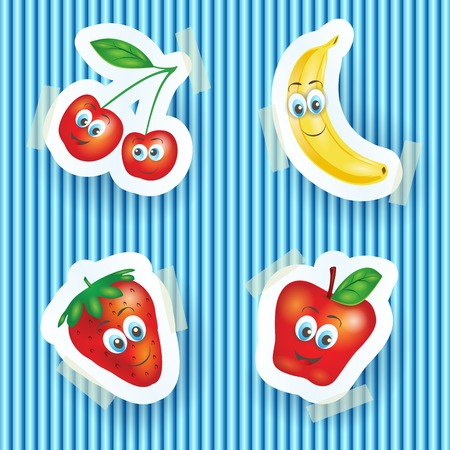 healty eating: Happy fruits with smiling faces, cartoon illustration. Vector eps10
