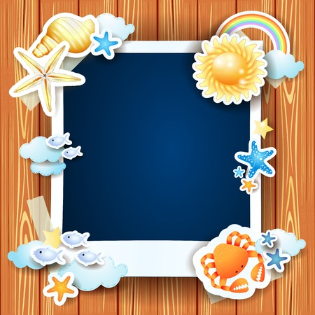 Summer background avec cadre et coquilles photo, illustration vectorielle eps10