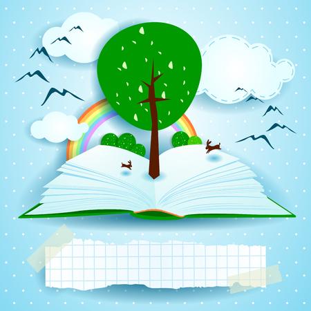 libros abiertos: Creciendo, a libro abierto con el paisaje y el árbol.