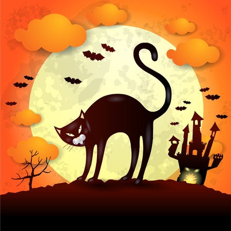 angry sky: Halloween background with black cat, vector  Illustration