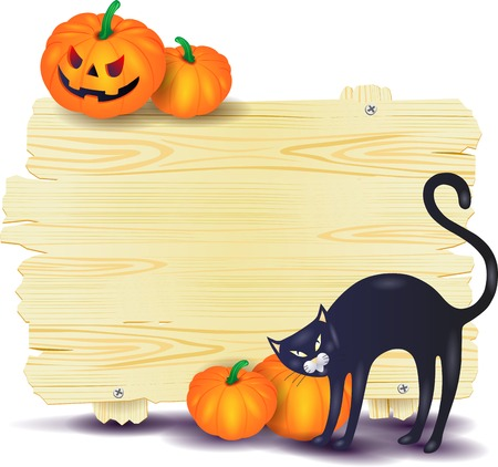 calabaza caricatura: Halloween signboard with black cat and pumpkins, vector illustration eps10