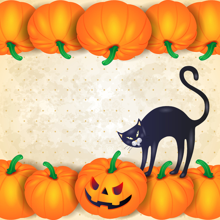copyspace: Halloween background with pumpkins, black cat and copyspace. Vector illustration eps10