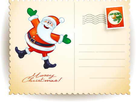 postage stamp: Christmas postcard with funny Santa, vector illustration eps10 Illustration