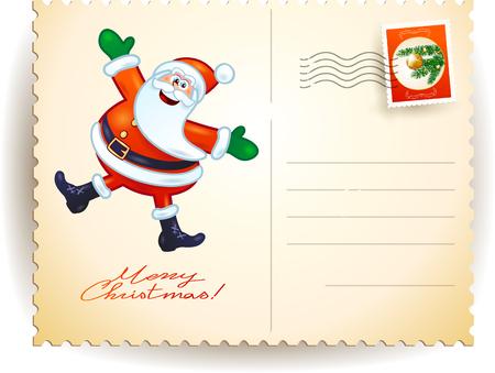 timbre postal: Postal de Navidad con Santa divertido, ilustración vectorial eps10