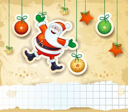 cintas navide�as: Fondo de Navidad con Santa feliz y espacio de la copia. Ilustraci�n vectorial eps10
