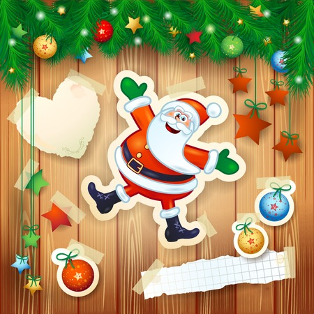 ornament paper: Christmas background with fir, decorations and happy Santa. Vector illustration eps10