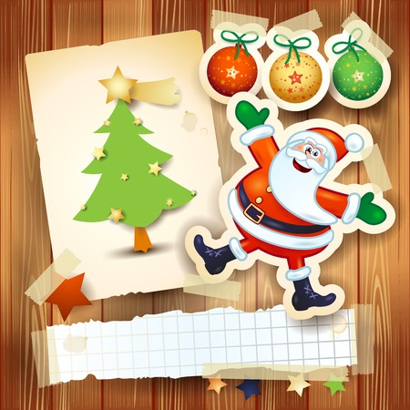 weihnachtsmann lustig: Weihnachten Hintergrund mit Postkarte und lustige Weihnachtsmann. Vektor-Illustration eps10
