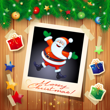 photo: Christmas background with photo of happy Santa Claus, vector illustration eps10 Illustration