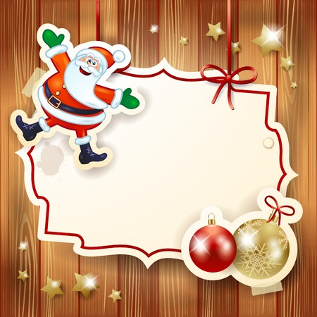 shiny christmas baubles: Christmas background with label, Santa and baubles. Vector illustration eps10 Illustration