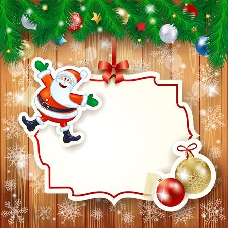 december holidays: Christmas background with label, Santa and baubles. Vector illustration eps10 Illustration