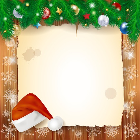 Christmas background with parchment