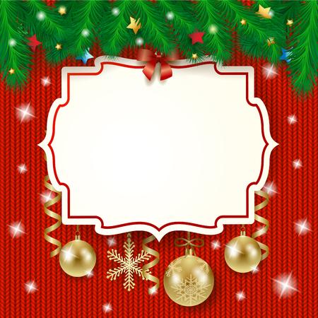 Tiquette de Noël et boules sur fond tricoté, illustration vectorielle eps10 Banque d'images - 49137531